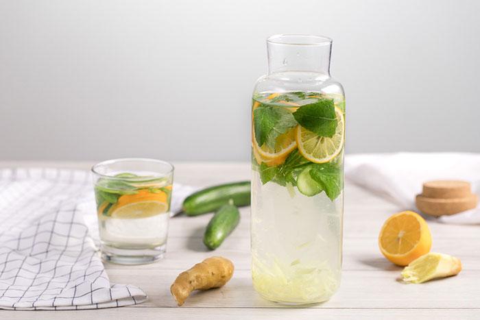Вода с лимоном и имбирем