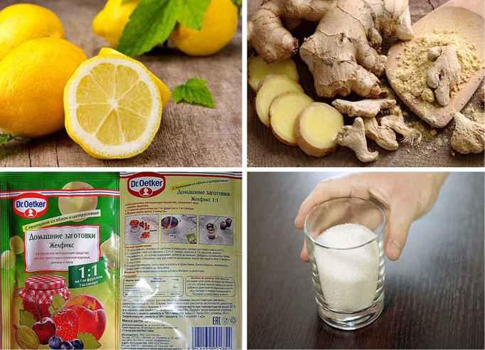Ингредиенты для варенья с имбирем, лимоном и сахаром