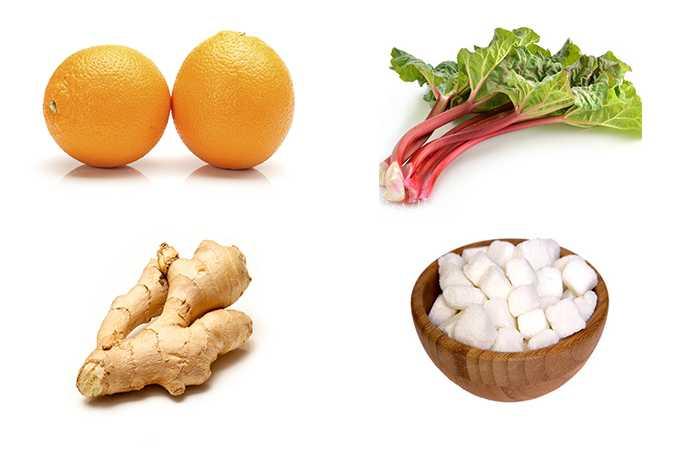 Ингредиенты для варенья с апельсином, сахаром и ревнем